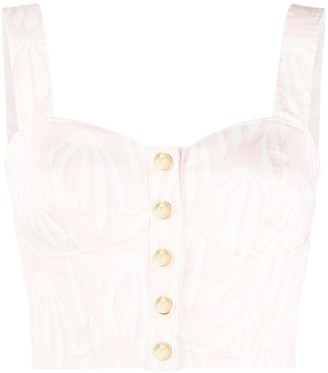 Temperley London Fontana cropped denim bustier top