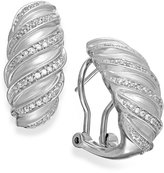 Macy's Diamond Swirl Hoop Earrings in Sterling Silver (1/4 ct. t.w.)