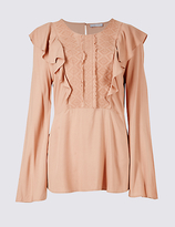 Per Una Ruffle Round Neck Long Sleeve Blouse