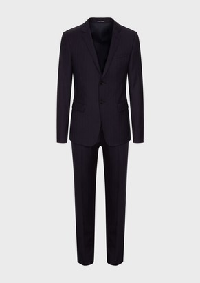 Emporio Armani Pinstripe Single-Breasted Suit In Light Wool