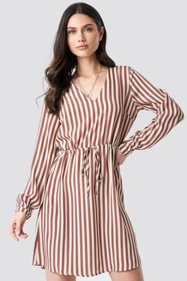 NA-KD Drawstring Waist Striped Dress Pink