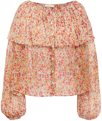 By Ti Mo Gathered Floral-print Georgette Blouse