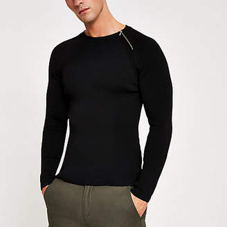 River Island Black zip neck muscle fit ribbed jumper
