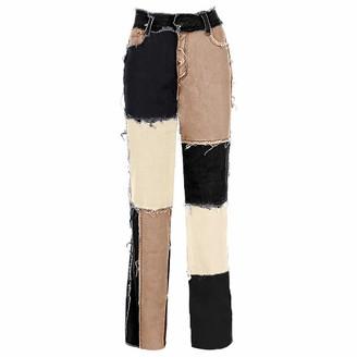 RuanYF Women's Patchwork Pants Hight Straight Waist Jeans Sexy Denim Pants Fashion A-line Vintage Pencil Trousers