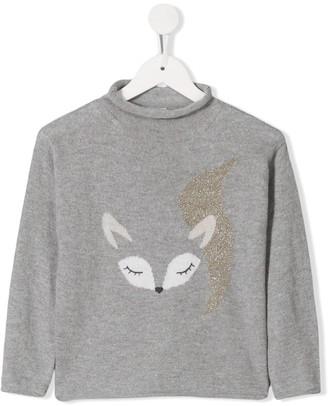 Il Gufo Fox Print Long-Sleeve Top