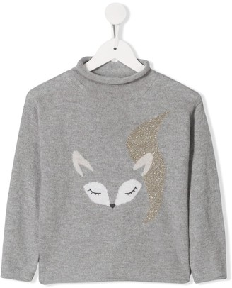 Il Gufo fox print long-sleeve top