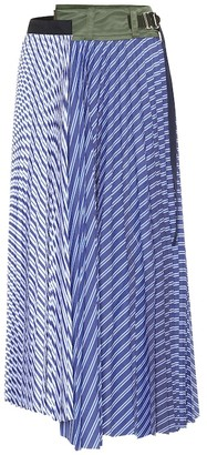 Sacai Striped cotton poplin pleated skirt