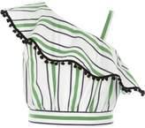 River Island Girls green stripe pom pom frill crop top