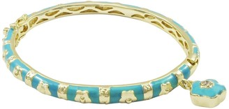 Luxiro Gold Finish Crystal Blue Enamel Flower Charm Children's Bangle