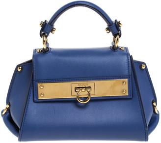 Salvatore Ferragamo Blue Leather Mini Sofia Top Handle Bag