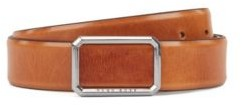 HUGO BOSS Leather Belt With Closed Buckle In Polished Silver Tone Hardware - Brown