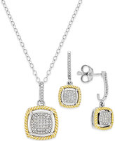 Macy's Diamond Rope Necklace and Earring Set (1/5 ct. t.w.) in 14k Gold and Sterling Silver
