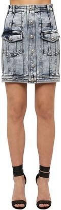 Balmain Washed Cotton Blend Denim Mini Skirt
