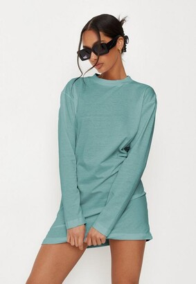 Missguided Sage Basic Long Sleeve T Shirt Dress