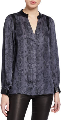 Paige Adeli Snake-Print Button-Up Top w/ Faux Leather Trim