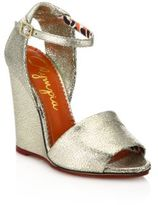 Charlotte Olympia Cracked Metallic Leather Wedge Sandals