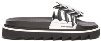 Nicholas Kirkwood Rina Quilted Chevron Mirror Sliders - Womens - Silver
