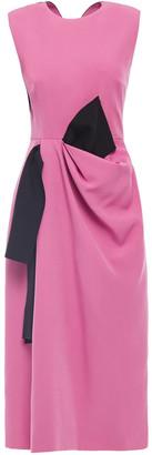 Roksanda Draped Pleated Two-tone Cady Midi Dress
