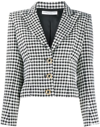 Alessandra Rich Fitted Houndstooth Pattern Jacket