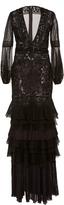 J. Mendel Embroidered Organza V-Neck Gown