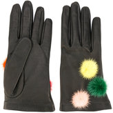 Fendi gloves with pompoms - women - Silk/Lamb Skin/Mink Fur - S