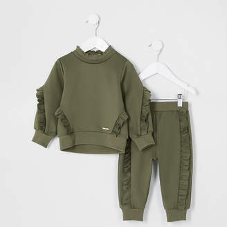 River Island Mini girls khaki frill sweatshirt outfit