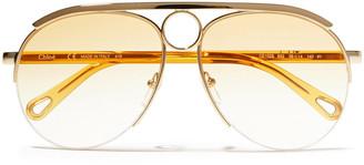 Chloé Aviator-style Silver-tone And Acetate Sunglasses