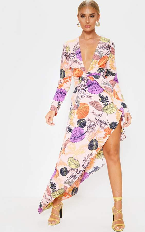 PrettyLittleThing Pink Tropical Print Asymmetric Hem Long Sleeve Plunge Maxi