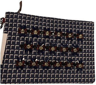 Mother of Pearl Blue Leather Clutch bags