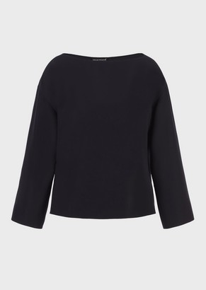 Emporio Armani Technical Cady Blouse With Side Ribbon