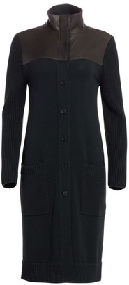 Akris Mix-Media Leather Collared Knit Cardigan