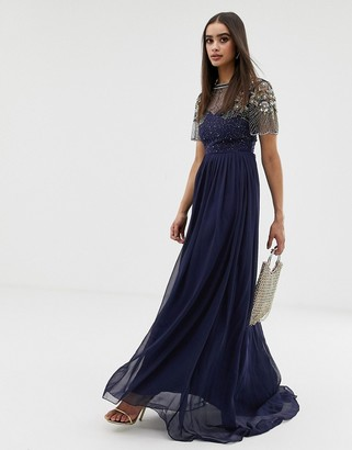 Virgos Lounge sheer embellished flutter sleeve maxi dress in navy-Pink