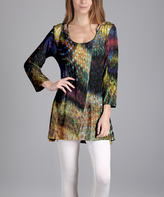 Lily Yellow Abstract Scoop Neck Tunic - Plus Too