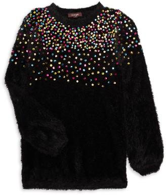 Imoga Little Girl's & Girl's Daisy Sequined Eyelash-Knit Sweater