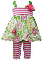 Bonnie Baby 3-24 Months Mixed-Media Poplin Dress & Striped Capri Leggings Set