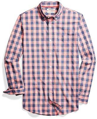Goodthreads mens Slim-fit Long-sleeve Heathered Large-scale Check Shirt Long Sleeve Button Down Shirt - blue
