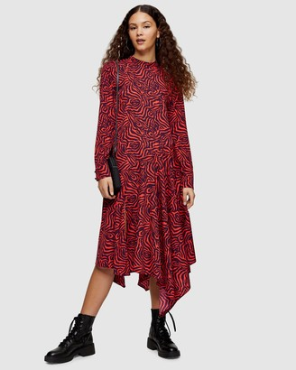Topshop Women's Red Midi Dresses - Zebra Asymmetric Midi Chuck On Dress - Size 10 at The Iconic