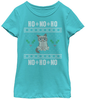 Fifth Sun Girls' Tee Shirts TAHI - Tahi Blue Grumpy Cat 'Ho No Ho' Sweater Tee - Girls