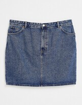 Thumbnail for your product : Monki Mimmie organic cotton denim mini skirt in mid wash blue