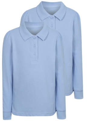 George Girls Light Blue Long Sleeve Scallop School Polo Shirt 2 Pack