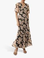Warehouse Gardinia Print Ruffle Tiered Maxi Dress, Multi