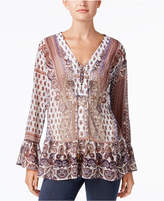 Style&Co. Style & Co Petite Lace-Up Peasant Top, Created for Macy's