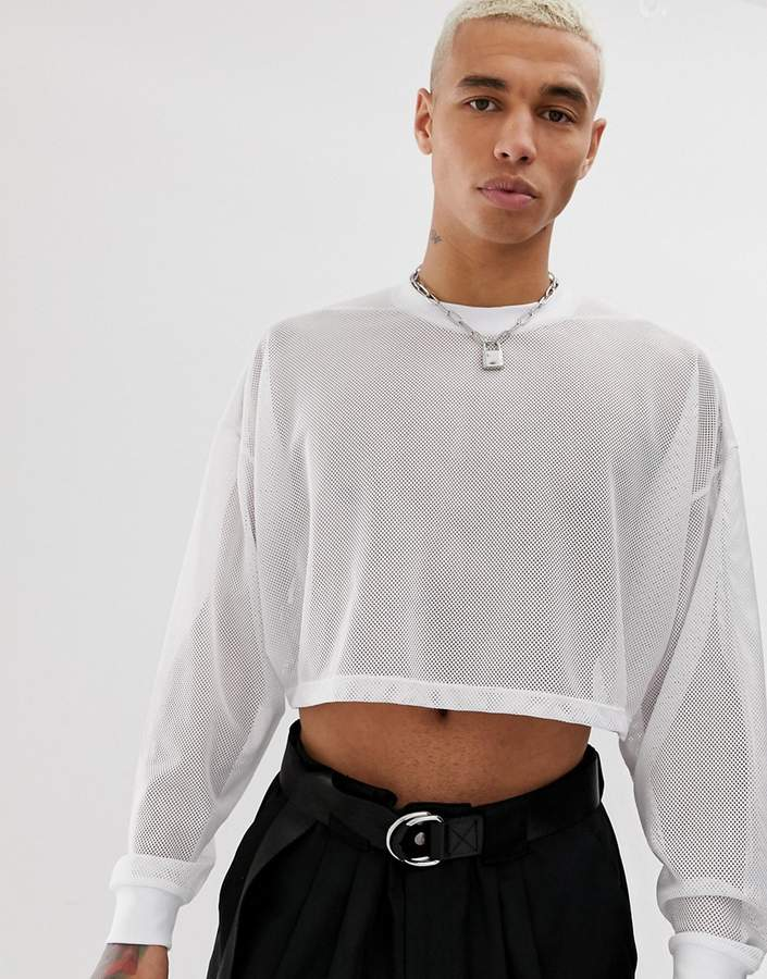 42b9c94cb Design DESIGN oversized cropped long sleeve t-shirt in white mesh
