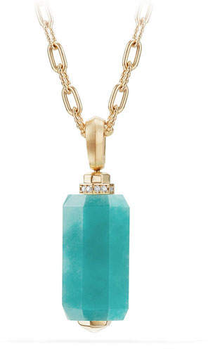 David Yurman Faceted Amazonite Barrel Pendant Necklace with Diamonds, 36""