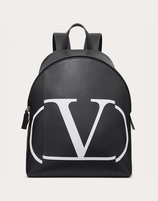 Valentino Garavani Uomo Vlogo Calfskin Backpack With Inlaid Logo Man Black 100% Pelle Di Vitello - Bos Taurus OneSize