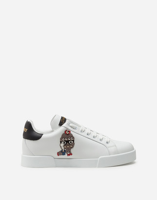 Dolce & Gabbana Calfskin Portofino Sneakers With Patches Of The Designers