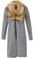 Dorothy Perkins Womens *Izabel London Grey Faux Fur Collar Cardigan- Grey