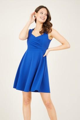 Yumi Blue Ruched Skater Dress