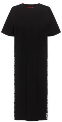 HUGO BOSS Relaxed Fit Dress In Organic Cotton With Logo Detailing - Black