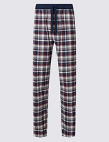 M&s Collection Brushed Cotton Checked Long Pant